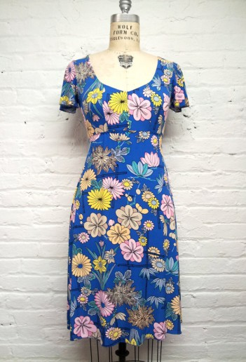 Blue Floral Print Summer Dress - Amara Felice Clothing
