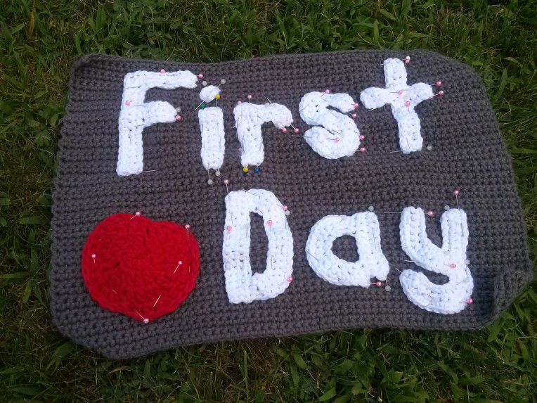 First Day prinned piece - Back to School Crochet Reversible Photo Prop
