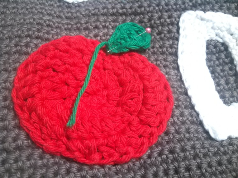 Apple Applique for First Day Last Day Back to School Crochet Reversible Photo Prop