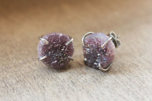Lavender Druzy Stud Earrings