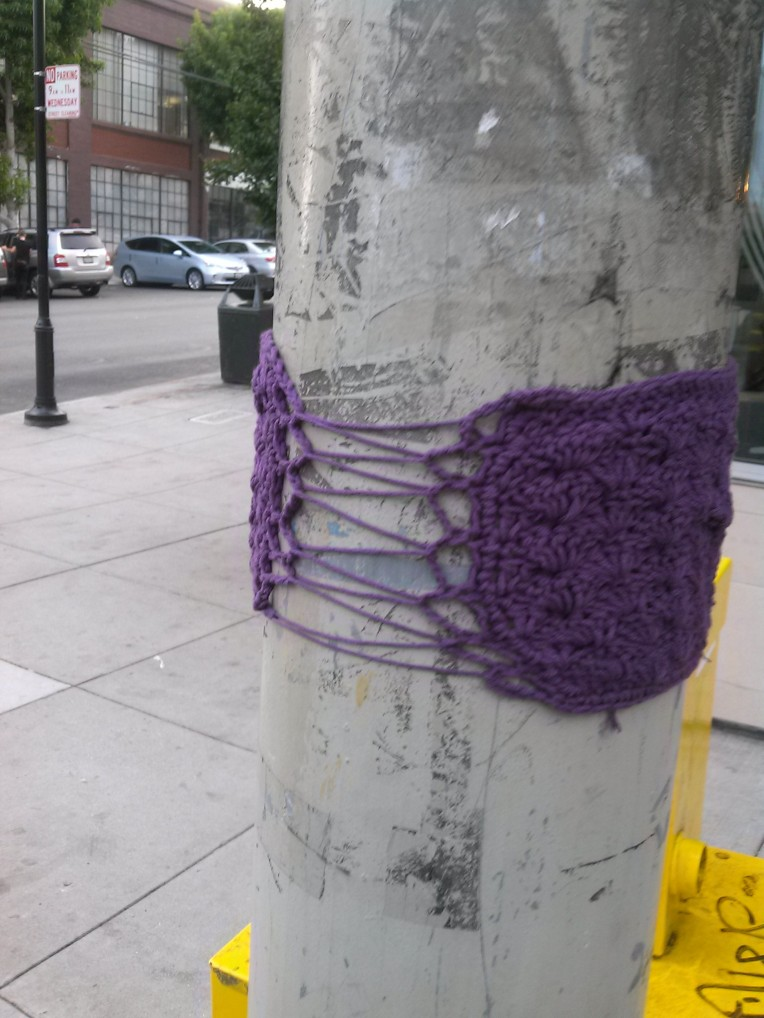 back of hi jenny brown yarn bomb in San Francisco