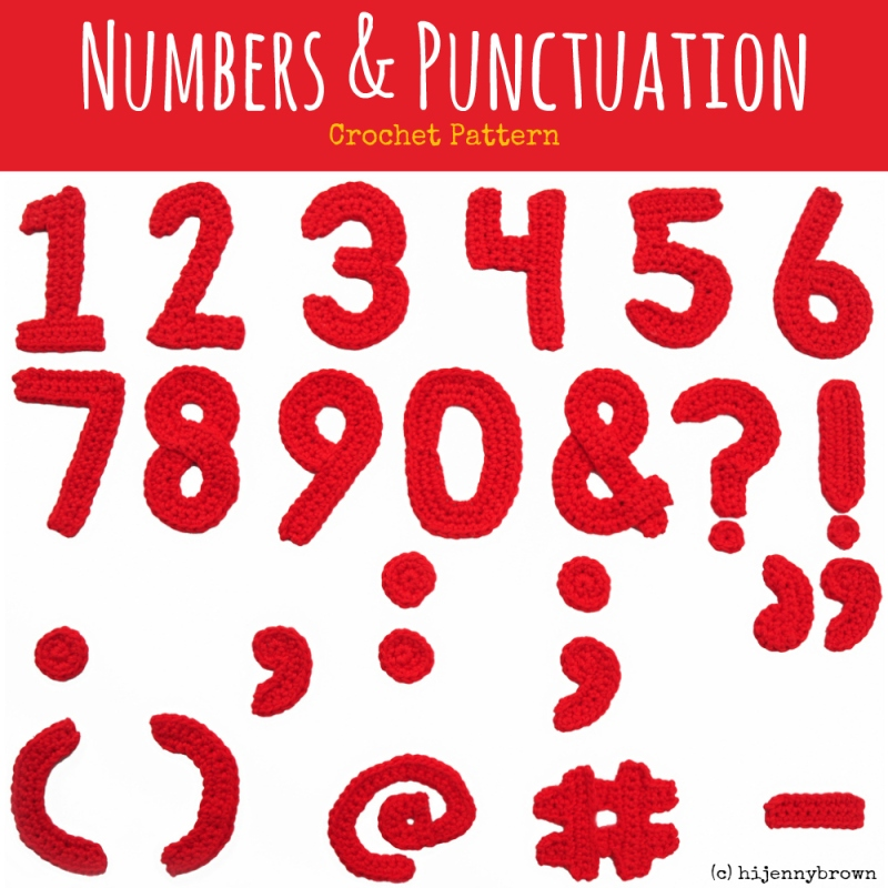 Hi Jenny Brown Numbers and Punctuation Crochet Pattern